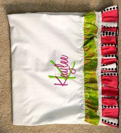 Adorable Ruffled Monogrammed Pillowcase  by DancingWorkbench