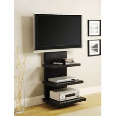 """Wall Mount TV Stand with 3 Shelves, Black, for TVs 37"""" to 60""""."""