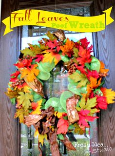 Fall Leaves Poof Wreath l Find our the secret to making your DIY wreath look like you bought it at a fancy boutique l Fresh Idea Studio