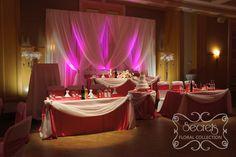 wedding reception head table setup | Crystallized Fuchsia Wedding Ceremony and Reception Decoration