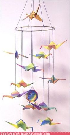 Origami Crane Mobile for the nursery. (in white) Hanging Origami, Origami Mobile, Crane Mobile, Mobiles, Baby Gifts, Diy And Crafts, Origami Cranes, Cousins, Projects