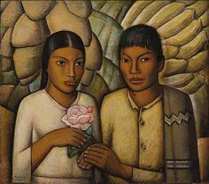 Alfredo Ramos Martínez México Casamiento indio  ca. 1931 Óleo sobre masonite 73 x 82 cm Colección FEMSA