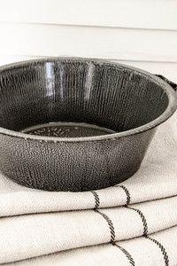 Grey Enamelware - Two Handle Bowl ...