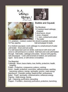 Bubble and Squeak, the mundane and the magickal. Kitchen Magic, Witches Kitchen, Midevil Food, Wicca Recipes, Bubble And Squeak, Cooked Cabbage, Kitchen Witchery, Retro Recipes, Witches Brew
