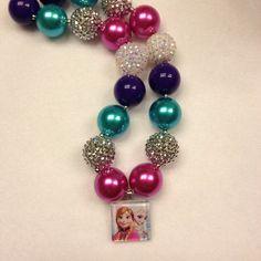 Disney's Frozen Chunky Children's Necklace, Disney Frozen Bubblegum Necklace on Etsy, $18.00