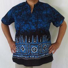 """Batik Blouse-Blue and Black (Large) 44""""/ $40"""