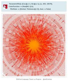 ParametricPlot[-{Cos@u/u,Sin@u/u},{u,.001,100Pi}, ColorFunction->(Hue[#3 .1]&),PlotStyle->{Dotted,Thickness@.13},Axes->False]