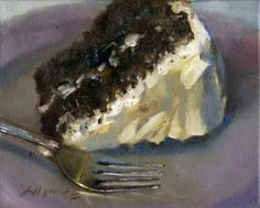 Chocolate Velvet Cake 8x10 Oil on canvas, painting by artist Hall Groat II