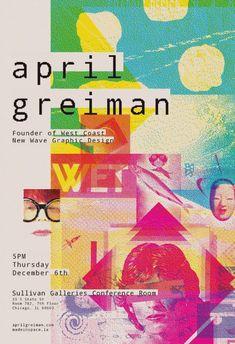 Graphic Design Posters, Graphic Design Inspiration, Typography Design, Lettering, Graphic Designers, Emigre Magazine, Nagasaki, April Greiman, Techno