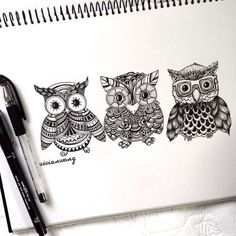 colour-to-inspire:  Triptych Owl | Black Fineliner Pen (Find me at http://www.colour-to-inspire.tumblr.com or http://instagram.com/vivianhitsugaya)  Do not remove credit.
