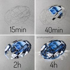 Learn how to draw realistically! 💎 Swipe left 👉🏻 for process videos, if it's helpful SAVE and get ba Pencil Art Drawings, Realistic Drawings, Colorful Drawings, How To Draw Realistic, Gem Drawing, Diamond Drawing, Drawing Pin, Drawing Step, Cristal Art
