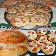 Aprenda fazer a Receita de Mini Pizza. É uma Delícia! Confira os Ingredientes e siga o passo-a-passo do Modo de Preparo!