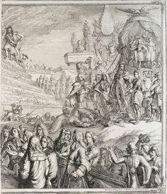 Allegorie op de gebeurtenissen in 1689 met Willem III en Maria op de troon (rechter helft), Romeyn de Hooghe, Johannes Tangena, 1690