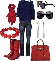 """""""Red cowboy boots..need I say more"""" by sherrbohanon on Polyvore"""