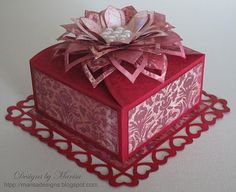 Designs by Marisa: Valentine's Card in the Square Petal Top Box by Spellbinders