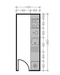 Pour une surface de 5,4 m² : le linéaire de façade est de 3,60 m soit la possibilité d'installer ici 4 éléments en plus de l'évier, dont une plaque de cuisson quatre feux, un réfrigérateur et un lave-vaisselle. En savoir plus sur http://www.cotemaison.fr/cuisine/plan-cuisine-en-ligne-ou-lineaire-les-meilleures-solutions_16055.html#62ys0Qcu0IF7ZPFh.99