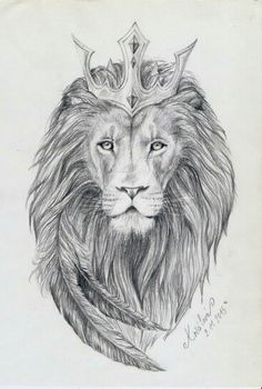 Lion tat with feathers. add colors to feathers