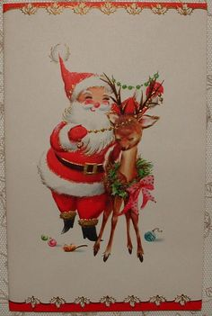 UNUSED-Gold Accents-Santa Decorates Deer -1960's Vintage Christmas Greeting Card
