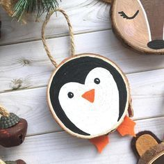 Personalised Penguin Ornament Penguin Wood Slice Art Custom Etsy Happy New Year Penguin Ornaments, Wooden Ornaments, Ornament Crafts, Holiday Ornaments, Holiday Crafts, Christmas Decorations, Diy Ornaments, Wood Slice Crafts, Navidad Diy