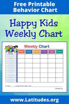 Behavior Charts for Home Inspirational Free Weekly Behavior Chart Happy Kids Weekly Behavior Charts, Behavior Calendar, Free Printable Behavior Chart, Behaviour Chart, Positive Behavior, Positive Reinforcement, Marketing Plan Template, Toddler Behavior, Charts For Kids