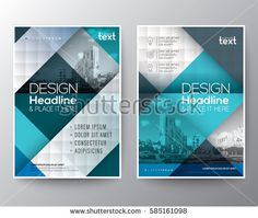 Blue and teal diagonal line Brochure annual report cover Flyer Poster design Layout vector template in A4 size