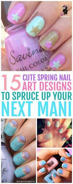Here's a curated list of 15 simple spring nail art design tutorials with the hottest nail color shades for spring break! From bright colors and flowers to glitter and pastel shades, they're easy to recreate and super cute too. Cute Spring Nails, Spring Nail Colors, Spring Nail Art, Nail Designs Spring, Cool Nail Designs, Simple Designs, Design Tutorials, Nail Tutorials, Nagellack Design