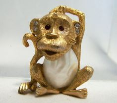 Vintage Crystal and Red Rhinestone Monkey Pin by GretelsTreasures