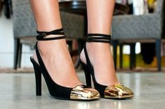 Cute black with gold tipped heels