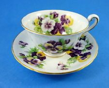 Striking Purple Pansy Royal Chelsea Tea Cup and Saucer Set