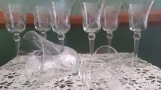 Vintage Etched Floral Wine Glasses 4 Ounce by DownAnOhioLane