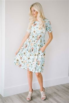 Mint Cream Floral Pocket Modest Dress Bridesmaids Dress, Church Dresses, dresses for church, modest bridesmaids dresses, trendy modest dresses, modest womens clothing, affordable boutique dresses, cute modest dresses, mikarose, trendy modest boutique