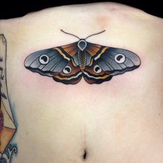 Moth Tattoo | Traditional Tattoo | Sternum Tattoo