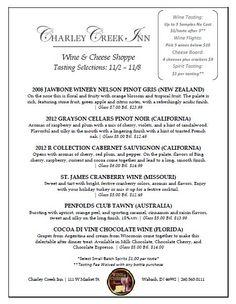 Wine Tasting Menu 11/2-11/8, 2013