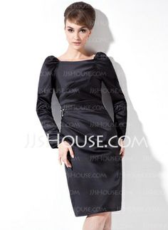 [US$ 129.99] Sheath Square Neckline Knee-Length Satin Cocktail Dress With Ruffle Beading (016021264)