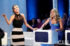 """Perfect Score -- """"The Rules of Love -- Image Number: PS103_.jpg  Pictured: Host Arielle Kebbel (left) with contestant -- Photo: Eddy Chen/The CW --  2013 The CW Network, LLC. All rights reserved."""