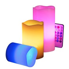 Color changing set of 3 candles with remote
