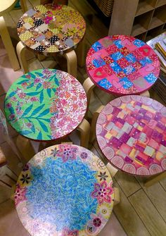 Stools decorated with Decopatch paper.