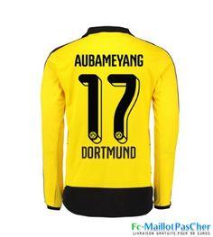 Nouveaux Maillots jaune Dortmund BVB Manche Longue AUBAMEYANG 17 Domicile 15 2016 2017