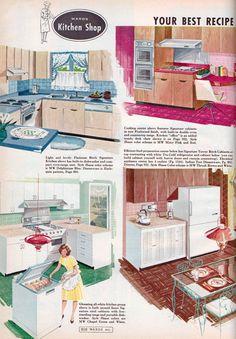 Wards Kitchen Shop from the Montgomery Wards Catalog, 1961 Vintage Room, Vintage Ads, Vintage Kitchen, Vintage Decor, 1960s Kitchen, Old Advertisements, Retro Advertising, Mid Century Modern Design, Modern House Design