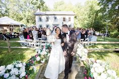Outdoor wedding ceremony at The Inn at Millrace Pond.