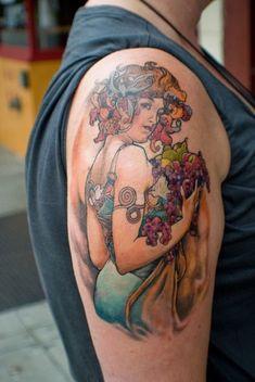 melissamelissap: aphoristic: mucha inspired tattoos…can't wait to get mine! love this mucha tattoos make me melt Art Nouveau Tattoo, Tatuaje Art Nouveau, Great Tattoos, Body Art Tattoos, Hand Tattoos, Tatoos, Portrait Tattoos, Alfons Mucha, Famous Tattoo Artists