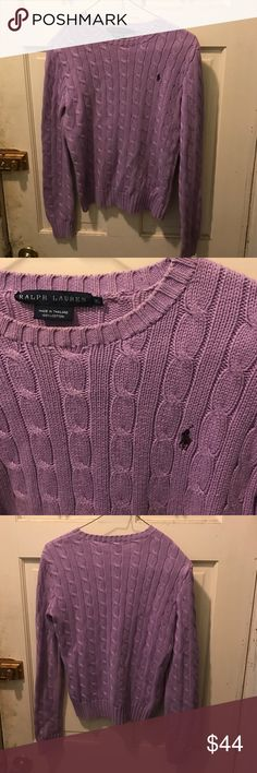 Women's Polo by Ralph Lauren cable knit sweater XS Excellent shape nice lavender purple color sleeve length 22 inches shirt length 22 inches and 15 inches wide 100% Polo by Ralph Lauren Sweaters Crew & Scoop Necks