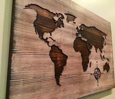 Diy wooden world map art wood art patience and unique wooden world map 200 for largest size on etsy gumiabroncs Images