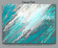 Teal blue, gray, turquoise, and white abstract canvas art by Denise Cunniff. View more info at https://www.etsy.com/listing/528363256
