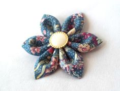 Unique Blue Floral Kanzashi Barrette for Fall by ScarlettandMaria