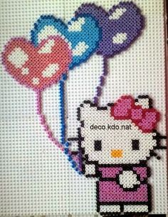 Hello Kitty with heart balloons hama perler beads by deco.kdo.nat