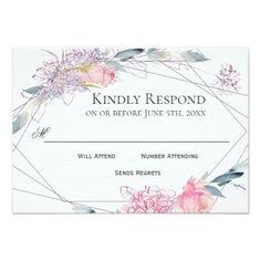 Elegant Watercolor Sketch Geometric Wedding RSVP Card - wedding invitations cards custom invitation card design marriage party
