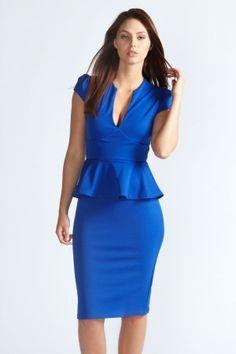 Susan Slit Neck Peplum Midi Dress $20.00 by boohoo.com