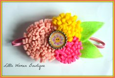 Spring flower felt headband. $5 plus shipping. You can order my sending me a message or comment on the photos on my fb page www.facebook.com/littlewomenbowtique