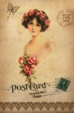 Series of postcards made by Violet Purple Vintage: vintage lady with med. pink roses.